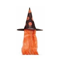 Chapeau Sorcière et cheveux Orange